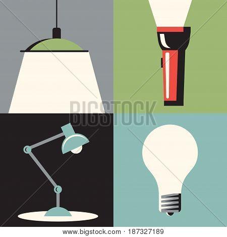 Vector flat illustration, icon set of light: chandelier, flashlight, table lamp bulb