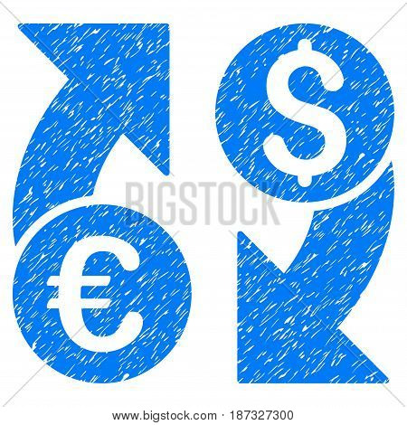 Grunge Currency Change icon with grunge design and unclean texture. Unclean vector blue pictogram for rubber seal stamp imitations and watermarks. Draft sticker symbol.