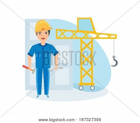 Children choose a profession. A young guy, in the suit of a builder with tools, presents himself as an employee of a construction company. Modern vector illustration isolated on white background.