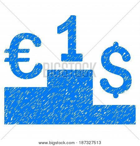 Grunge Currency Competition icon with grunge design and scratched texture. Unclean vector blue pictogram for rubber seal stamp imitations and watermarks. Draft sign symbol.