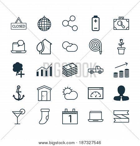 Set Of 25 Universal Editable Icons. Can Be Used For Web, Mobile And App Design. Includes Elements Such As Publication, Fireplace Decoration, Floret And More.