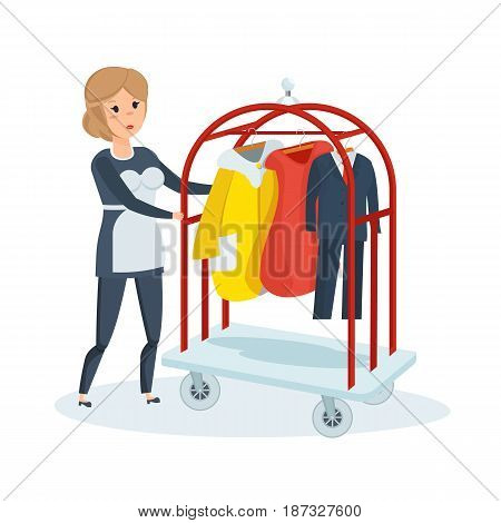 Working in hotel room. Cleaning service maid of hotel. Girl in an apron and special clothes, removes dust, carries clothes after dry cleaning. Modern vector illustration isolated on white background.