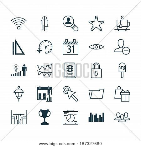 Set Of 25 Universal Editable Icons. Can Be Used For Web, Mobile And App Design. Includes Elements Such As Glance, Team, Document Case And More.