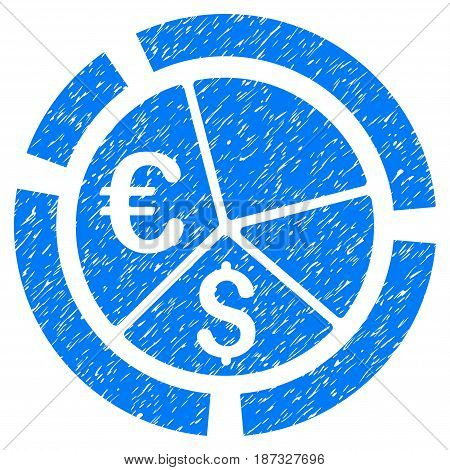 Grunge Currency Diagram icon with grunge design and unclean texture. Unclean vector blue pictogram for rubber seal stamp imitations and watermarks. Draft emblem symbol.