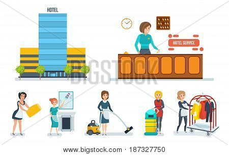 Working and hotel building. Cleaning service. The staff of the serves the hotel room. Modern vector illustration isolated on white background.
