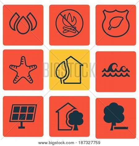 Set Of 9 Eco-Friendly Icons. Includes Sun Power, Home, Delete Woods And Other Symbols. Beautiful Design Elements.