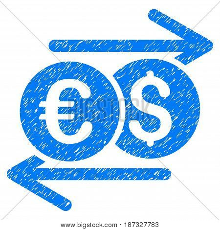 Grunge Currency Exchange icon with grunge design and unclean texture. Unclean vector blue pictogram for rubber seal stamp imitations and watermarks. Draft sticker symbol.