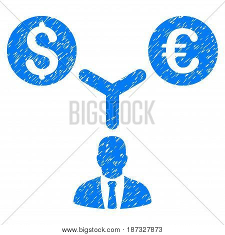 Grunge Currency Manager icon with grunge design and unclean texture. Unclean vector blue pictogram for rubber seal stamp imitations and watermarks. Draft emblem symbol.