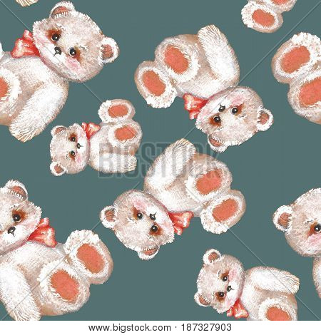 Teddy Bear. Cute seamless pattern with toys