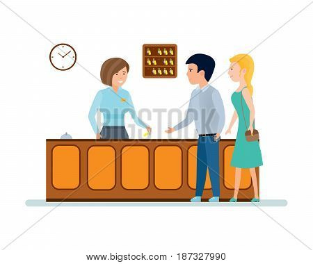 Working hotels. The receptionist serves clients, and gives them the keys to the hotel room. Modern vector illustration isolated on white background.