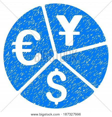 Grunge Currency Pie Chart icon with grunge design and scratched texture. Unclean vector blue pictogram for rubber seal stamp imitations and watermarks. Draft sticker symbol.