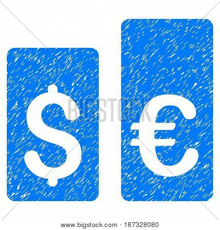 Grunge Currency Rate Bars icon with grunge design and dirty texture. Unclean vector blue pictogram for rubber seal stamp imitations and watermarks. Draft sign symbol.