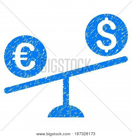 Grunge Currency Trade Swing icon with grunge design and unclean texture. Unclean vector blue pictogram for rubber seal stamp imitations and watermarks. Draft emblem symbol.