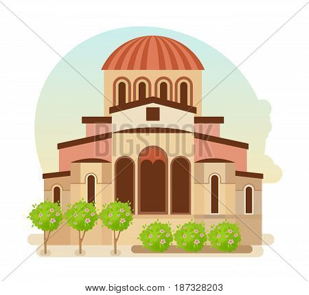 World sights. Architectural building, cultural center of Byzantium, the modern medieval city of Mystra Greece. Europe travel. Modern vector illustration isolated on white background.