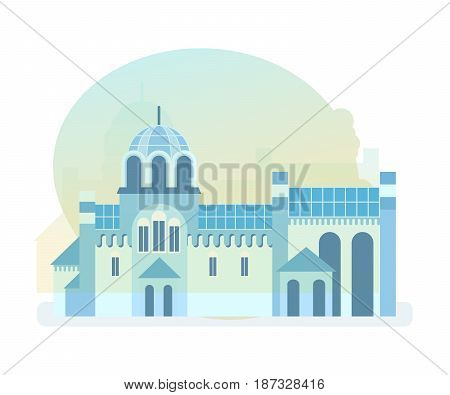 World sights. Architectural building, beautiful historical monastery of the diocese of the Serbian orthodox church, located in yugoslavia. Europe travel. Modern vector illustration isolated