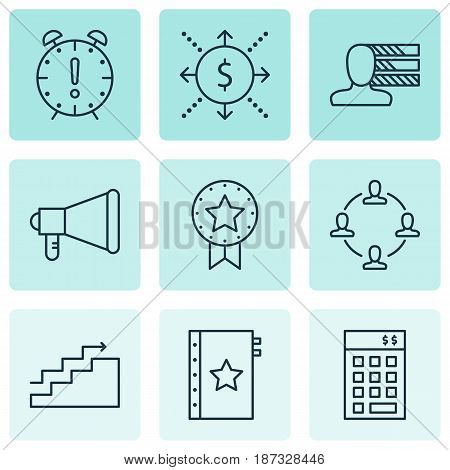 Set Of 9 Project Management Icons. Includes Personal Skills, Investment, Money And Other Symbols. Beautiful Design Elements.