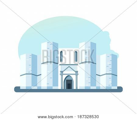 World sights. Architectural building of Castel del Monte, located on a small hill near Adria in Italy. Europe travel. Modern vector illustration isolated on white background.