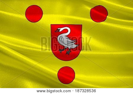 Flag of Boulogne-sur-Mer often called Boulogne is a city in Northern France. 3d illustration