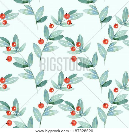 Floral seamless pattern. Watercolor green leaves