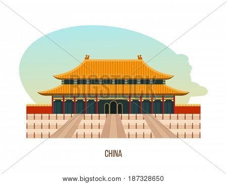 World sights. Architectural building, temple-monastery complex in the central district of beijing is the building of the temple of heaven. China travel. Vector illustration isolated on white background.