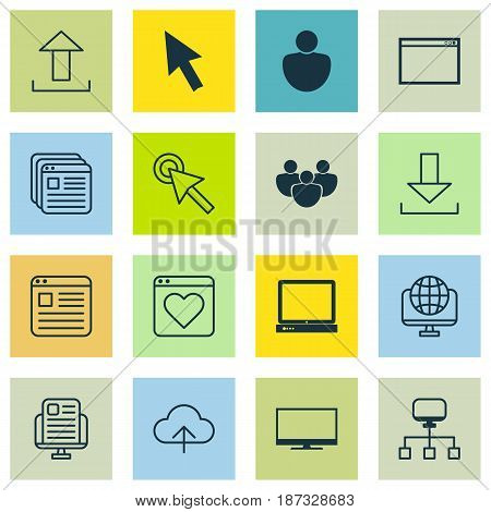 Set Of 16 Internet Icons. Includes Cursor Tap, Data Synchronize, Send Data And Other Symbols. Beautiful Design Elements.