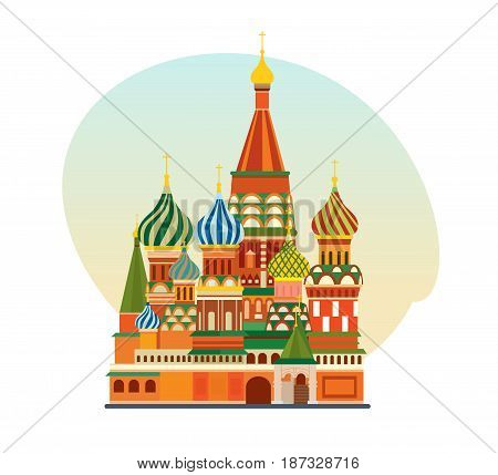 World sights. Travel to Europe. Architectural building, well-known monument of Russian architecture, famous Orthodox Church of St. Basil Blessed. Vector illustration isolated on white background.