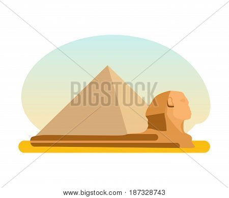 World sights. Travel to Europe. Architectural building, famous ancient Egyptian pyramid of Cheops and the Sphinx. A monument of architectural art. Vector illustration isolated on white background.