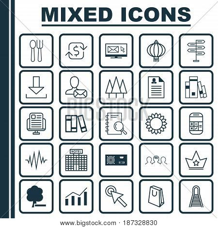 Set Of 25 Universal Editable Icons. Can Be Used For Web, Mobile And App Design. Includes Elements Such As Newsletter, Handbag, Corona.
