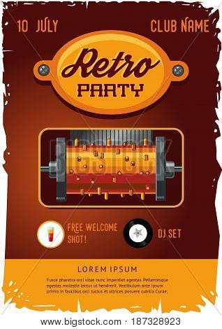 Party poster template with vintage clockwork music box. Retro design.