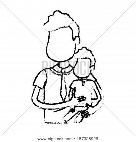 figure nice father carrying his son in the hands, vector illustration