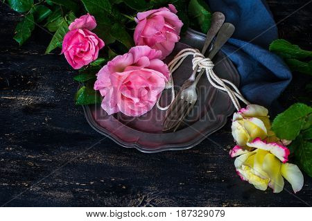 Summer Table Setting With Roses