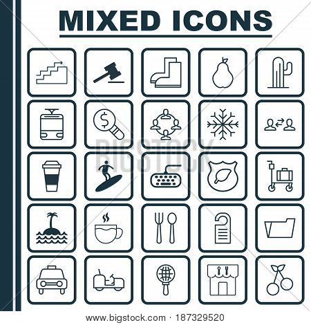 Set Of 25 Universal Editable Icons. Can Be Used For Web, Mobile And App Design. Includes Elements Such As Agrimotor, Eating House, Tea And More.