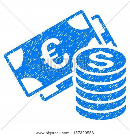 Grunge Euro And Dollar Cash icon with grunge design and scratched texture. Unclean vector blue pictogram for rubber seal stamp imitations and watermarks. Draft sign symbol.