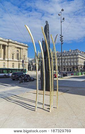 PARIS FRANCE - APRIL 2 2017: Contemporary art: abstract sculptures on a Paris street in front of the Louvre Museum. France.