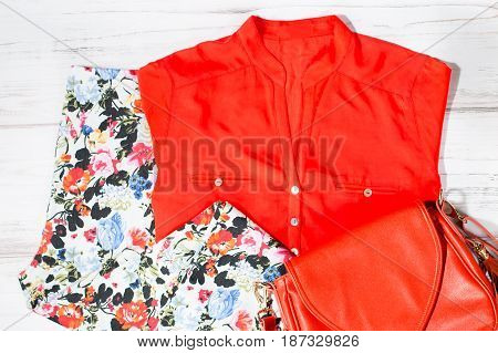 Fashionable stylish female summer clothes collection in trendy colors overhead