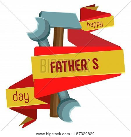Vector isolated image on Father's Day. Red with yellow banner wrapping tools.