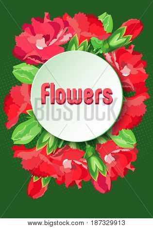 Vector image with wreath red carnations under a round plate for text. Dark green background with halftone of light green color.