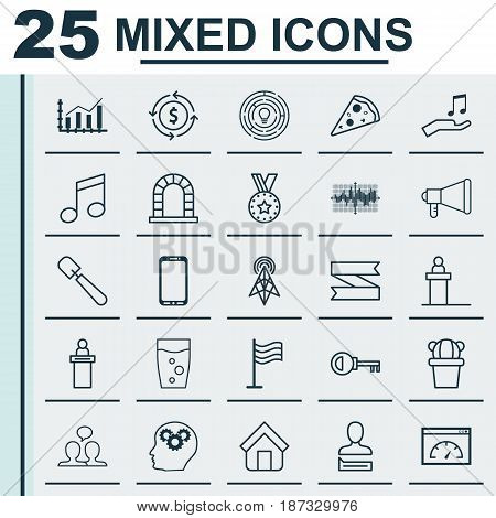 Set Of 25 Universal Editable Icons. Can Be Used For Web, Mobile And App Design. Includes Elements Such As Password, Loading Speed And More.