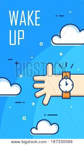 Thin line flat design. Wake up poster. Vector banner with clouds hand and alarm clock.