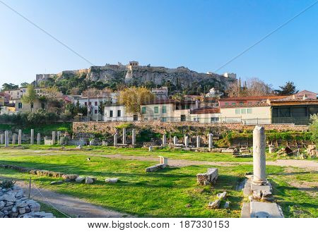 Remains of Roman Forum and Acropolis hill, Athens Greece