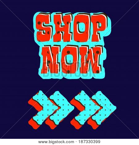 Set of super sale and shop now promotion emblems, advertising and marketing poster, black background. Vector illustration