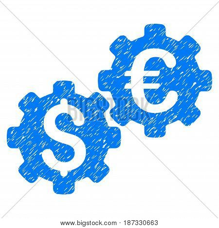 Grunge Financial Mechanics icon with grunge design and dirty texture. Unclean vector blue pictogram for rubber seal stamp imitations and watermarks. Draft emblem symbol.