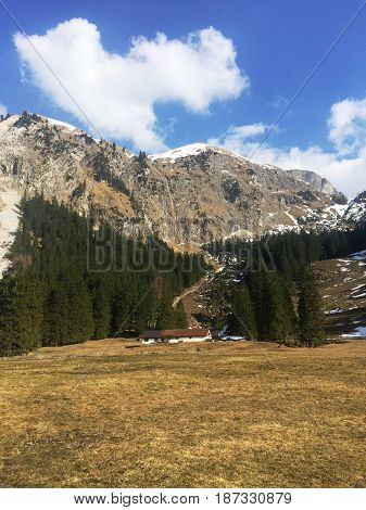 Amazing view on alpine village valley and mountains. Nature landscape