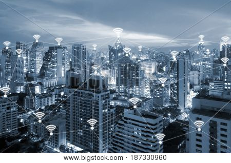Internet wifi connected all place in smart city of business for work life integration and internet of things technology and communication concept