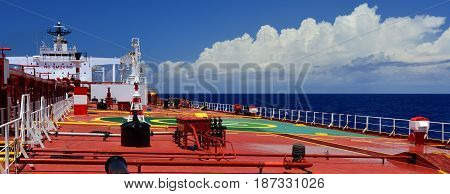 On board a large crude oil tanker
