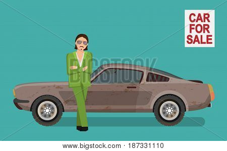Illustration of a sneaky looking tough gangster man in a green costume selling used dirty and broken car on car sale market, lean against car waiting for client..