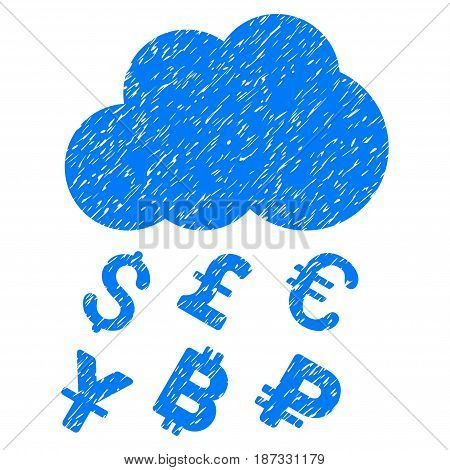 Grunge Money Rain icon with grunge design and dust texture. Unclean vector blue pictogram for rubber seal stamp imitations and watermarks. Draft sticker symbol.