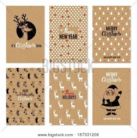 Christmas hand drawn vector printable cards with deer, santa, christmas tree, snowflakes and lettering. New Year and Merry Christmas invitation set on kraft paper background in hipster style.