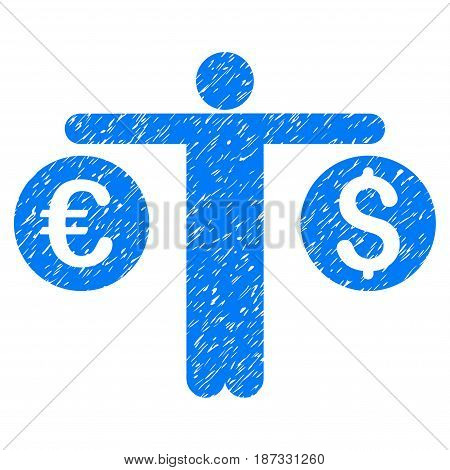 Grunge Person Compares Currency icon with grunge design and scratched texture. Unclean vector blue pictogram for rubber seal stamp imitations and watermarks. Draft sign symbol.