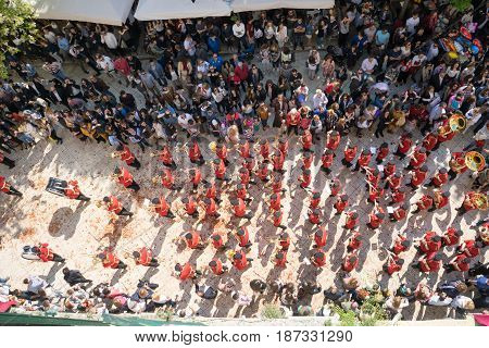 Corfu, Greece - April 15, 2017: At 11:00Am On Holy Saturday, As Is Customary, Corfians Throw Jugs Fr
